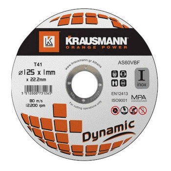 Δίσκος κοπής Inox 125x1.0 Krausmann Dynamic AS60VBF125