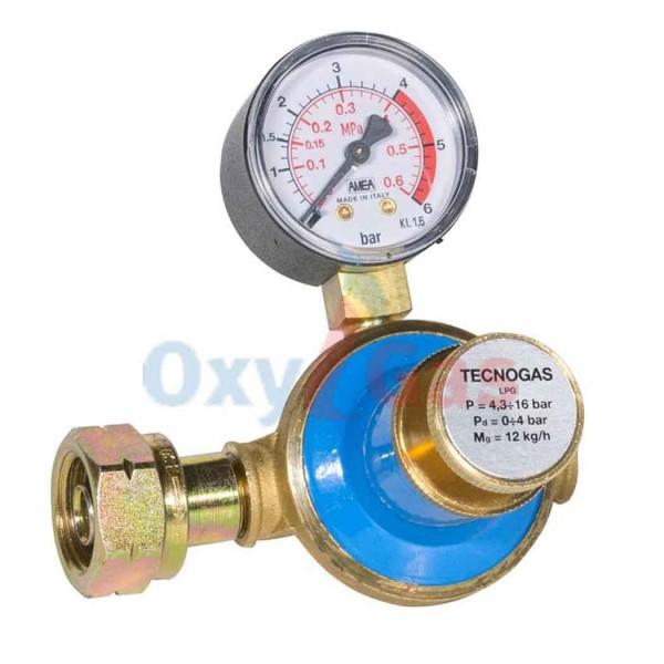 Ρυθμιστής υψηλής πίεσης 12 Kg,με Μανόμετρο-ΤecnoGas