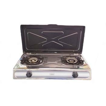 Επιτραπέζιο κουζινάκι inox (2 εστίες) Din-Gas KS-2K