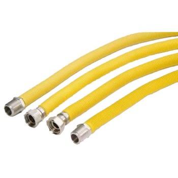 Φλεξίμπλ 1/2  INOX σύνδεσης συσκευών υγραερίου  με κίτρινη επένδυση  25-50cm